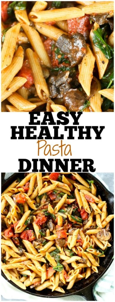 Penne pasta with mushrooms, spinach, and tomatoes #easy #healthy #pasta #dinner #recipes #weeknightdinner #wholegrains