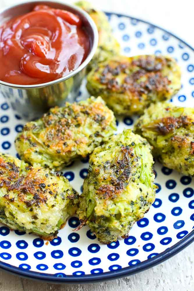 Broccoli Cheese Bites Recipe on a plate with ketchup