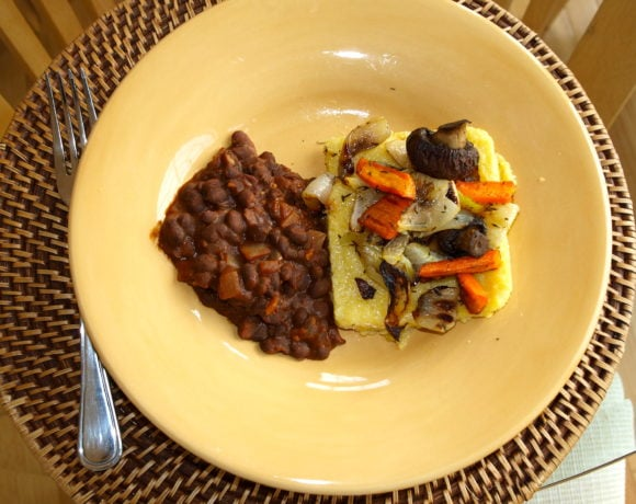 Cheap & Healthy:  Roasted Vegetables with Grilled Polenta