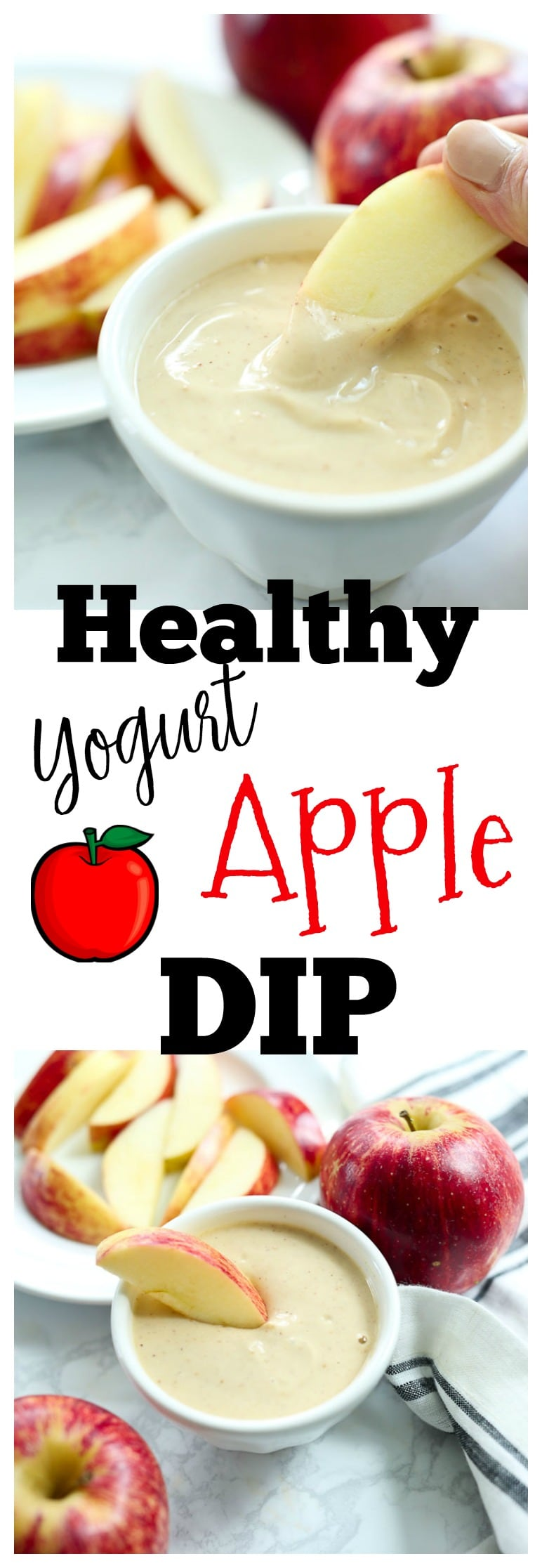 Healthy Yogurt Peanut Butter Apple Dip recipe--healthy after school snack recipe with no refined sugar and gluten-free