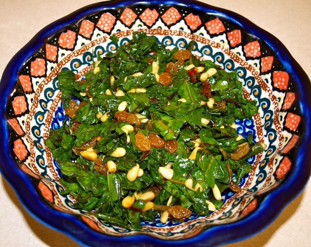 Sauteed Rainbow Chard with Golden Raisins and Pine Nuts - Happy ...