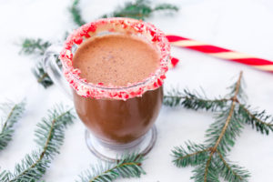 Homemade Peppermint Hot Cocoa Recipe--in a glass mug with greenery and a candy cane surrounding it