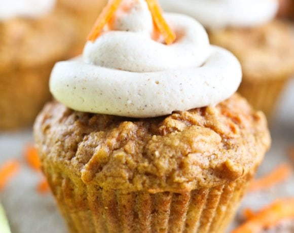 Carrot Cake Cupcakes healthy recipe with cream cheese frosting no refined sugar