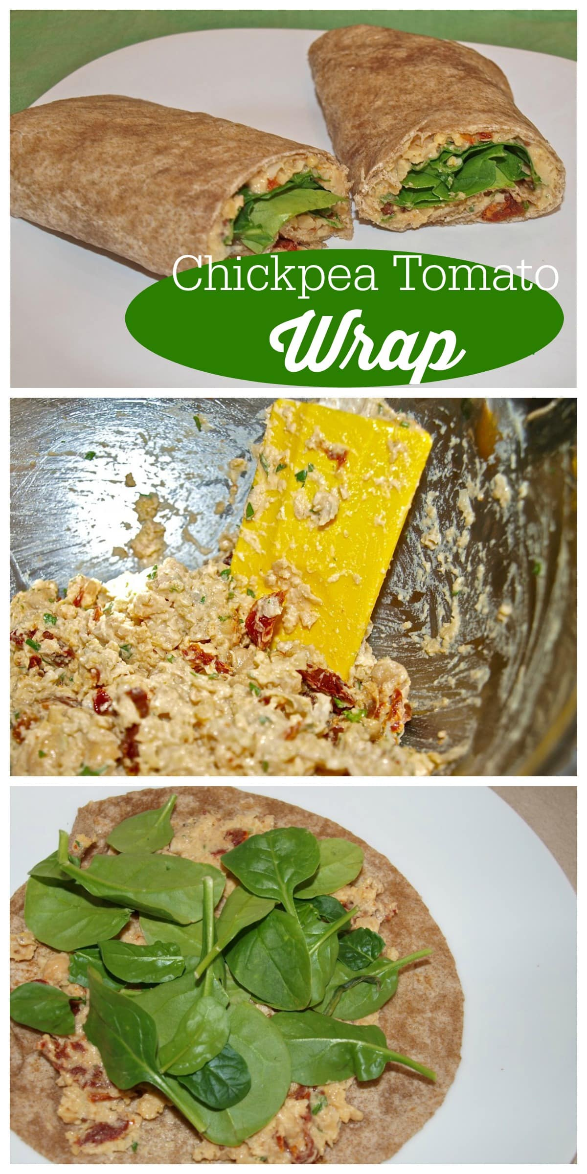 This Chickpea Tomato Wrap is a super easy meatless lunch recipe.