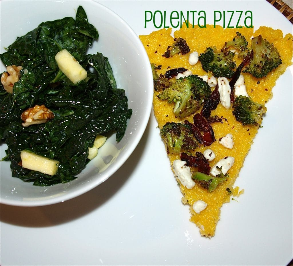 Polenta Pizza with Garlic, Broccoli, Sun Dried Tomatoes and Goat ...
