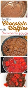 Whole Wheat Chocolate Waffles with Strawberry Sauce