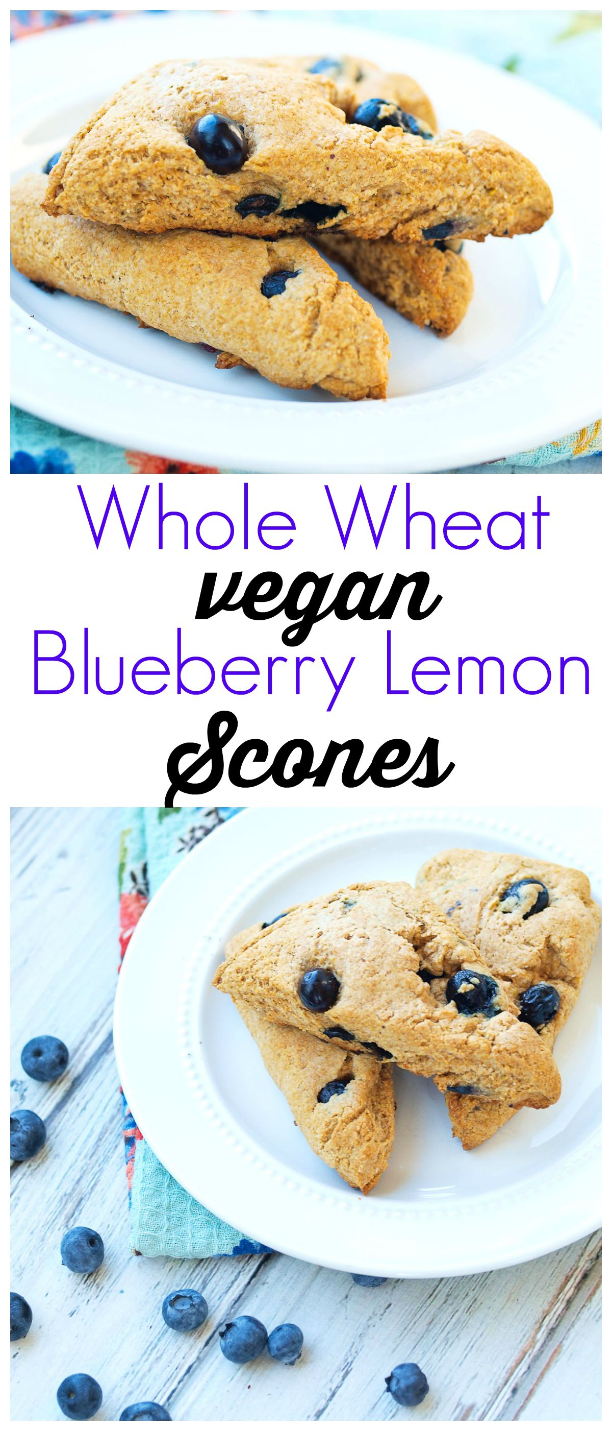 Blueberry Lemon Scones recipe. This is a healthy scone recipe made with whole wheat flour and is also completely vegan. A great breakfast treat!