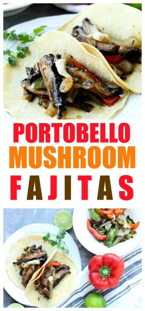 Healthy Portobello Mushroom Fajitas Recipe. Great healthy recipe for Meatless Monday