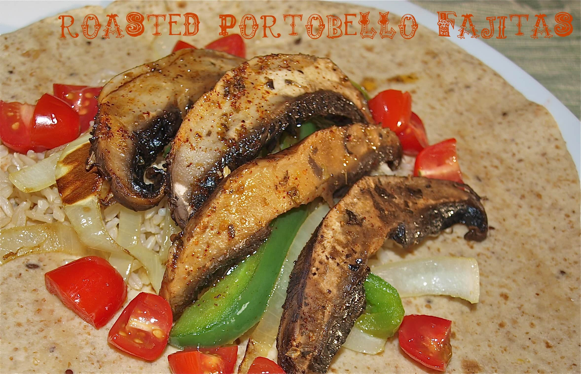 These Roasted Portobello Fajitas are my husband's favorite vegetarian meal! Perfect recipe for Meatless Monday! It's also a quick and easy weeknight recipe.