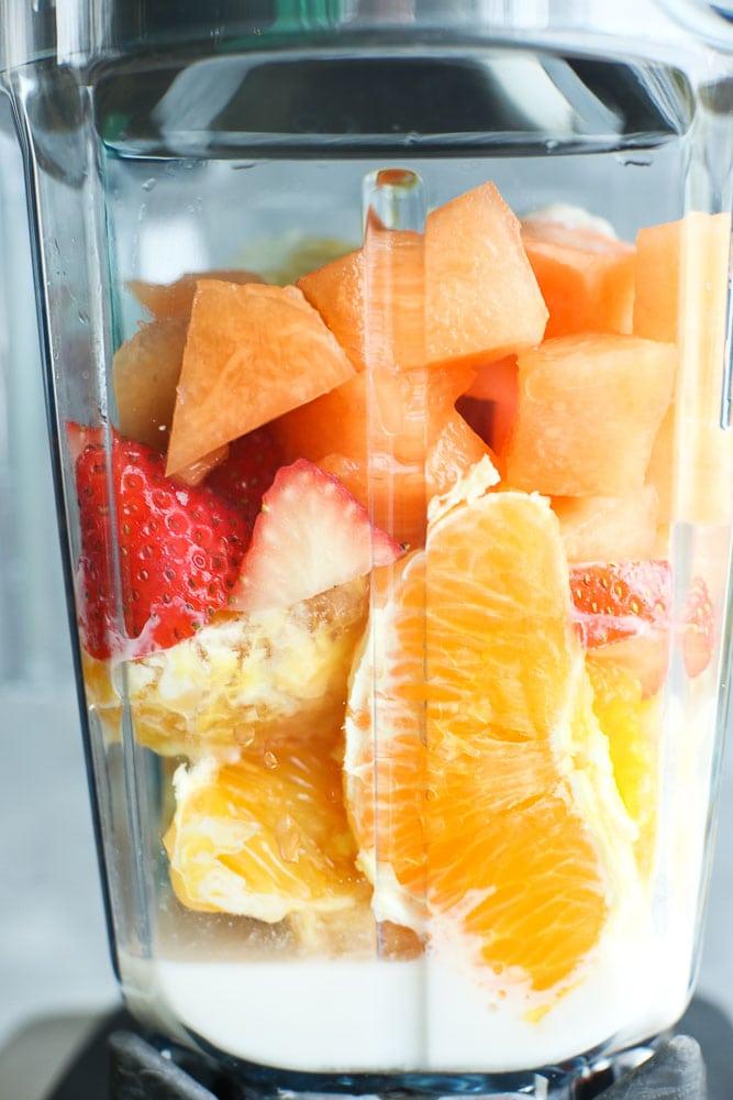 Vitamin C Fruit Smoothie ingredients in the blender recipe