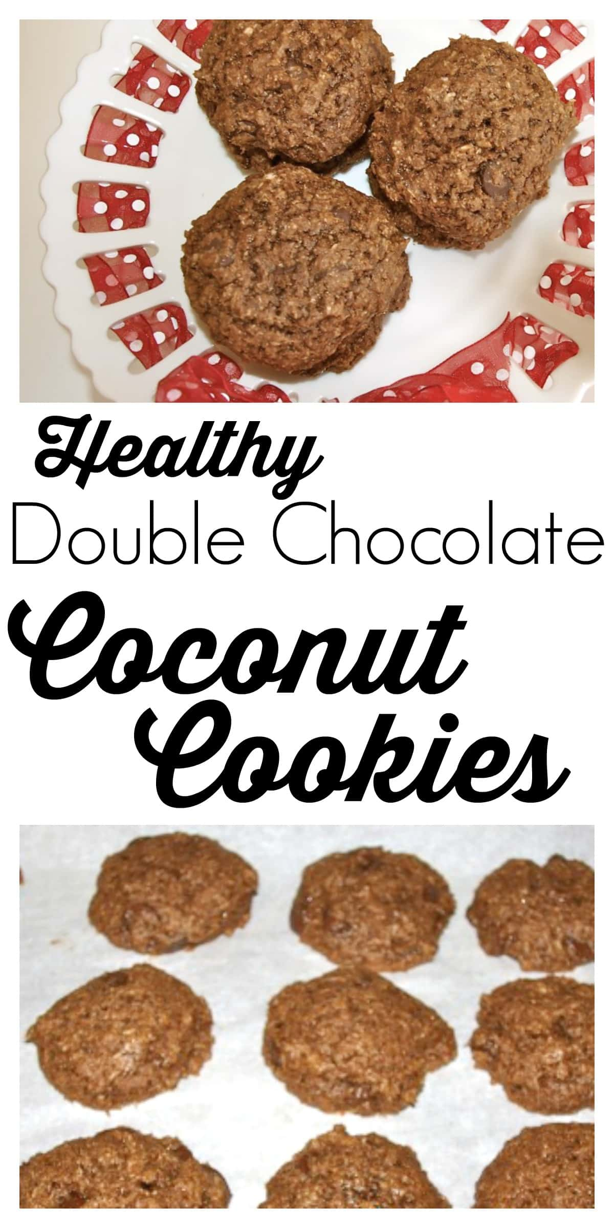 These HEALTHY Double Chocolate Coconut Cookies are 100% whole grain, dairy-free, and made with NO refined sugar! This recipe is amazing!