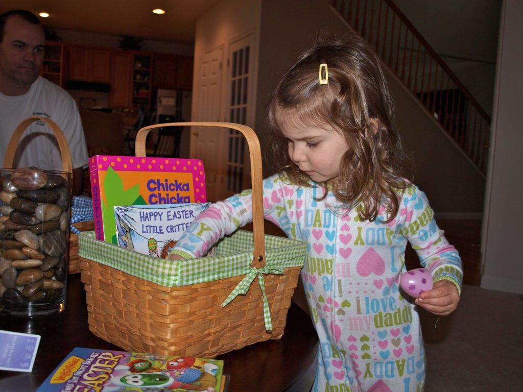 Meghan looking in her Easter basket