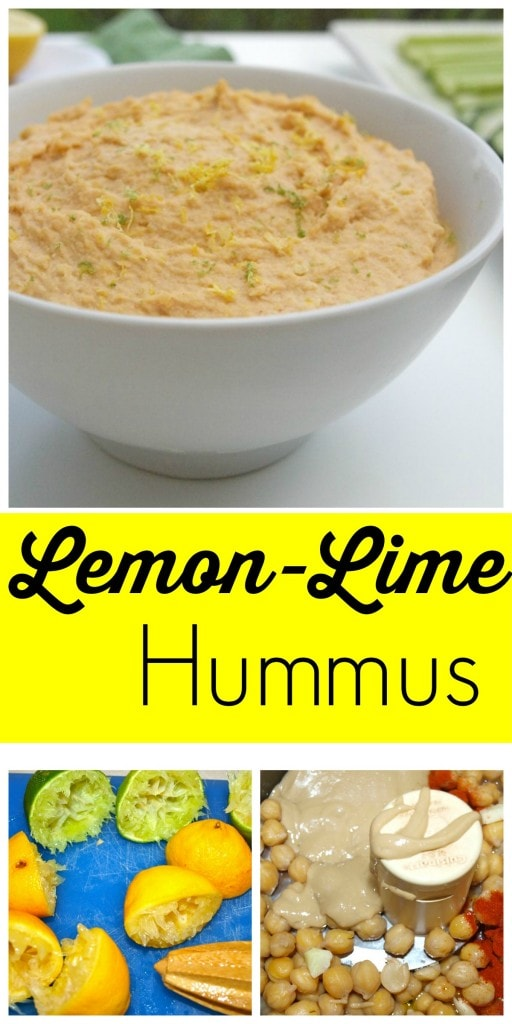 Homemade Lemon-Lime Hummus. Super easy to make and I just love the bright, fresh flavor. Great clean-eating snack recipe.