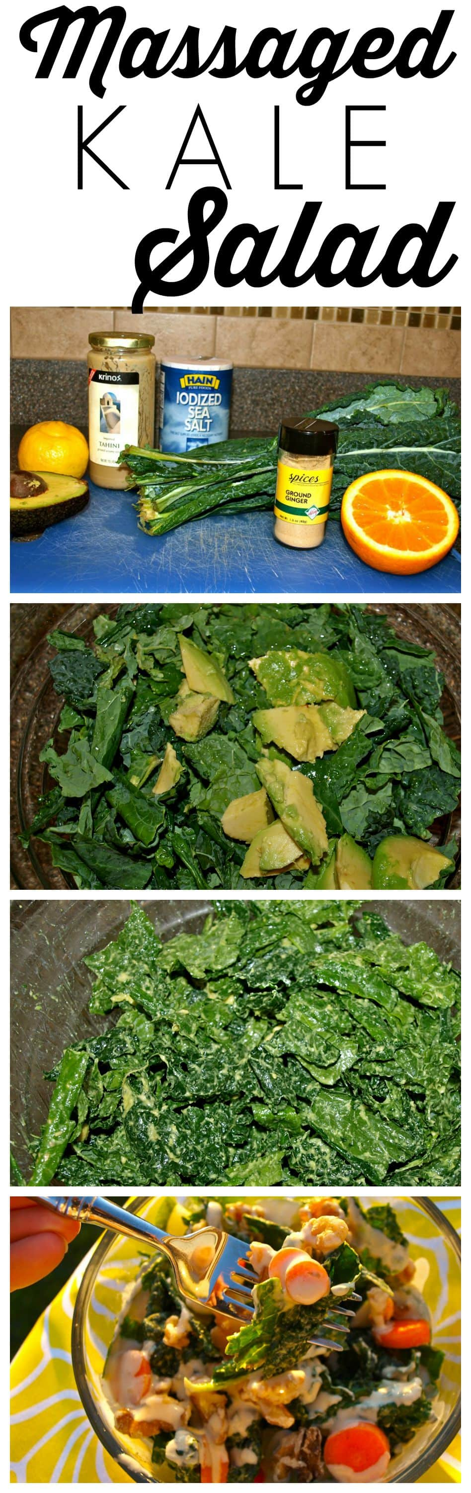 Massaged Kale Salad with Orange Tahini Dressing. A healthy and delicious salad recipe!