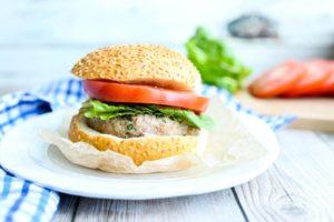 Mozzarella-Stuffed Basil Turkey Burgers