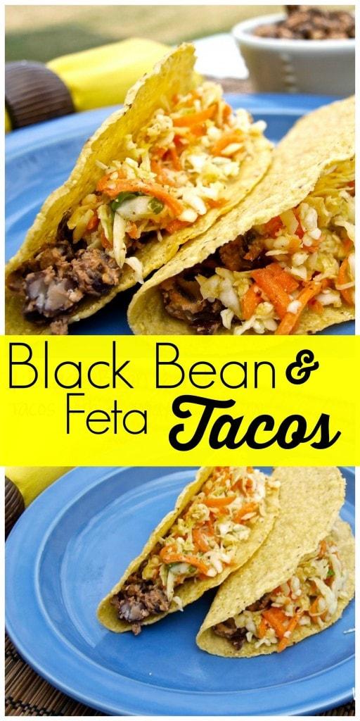 Smoky black bean & feta tacos with no-mayo coleslaw - Happy Healthy ...