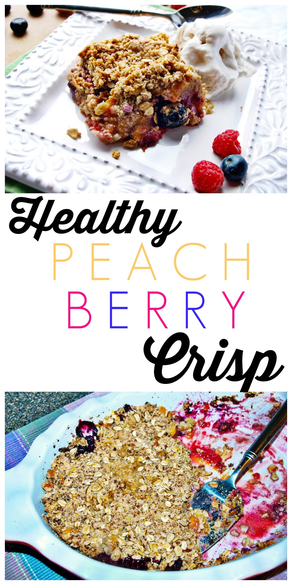 This Healthy Peach Berry Crisp is the ultimate summer dessert! It's much lighter than a normal crisp and made without refined sugar. But shhh! you don't have to tell anyone that. :)