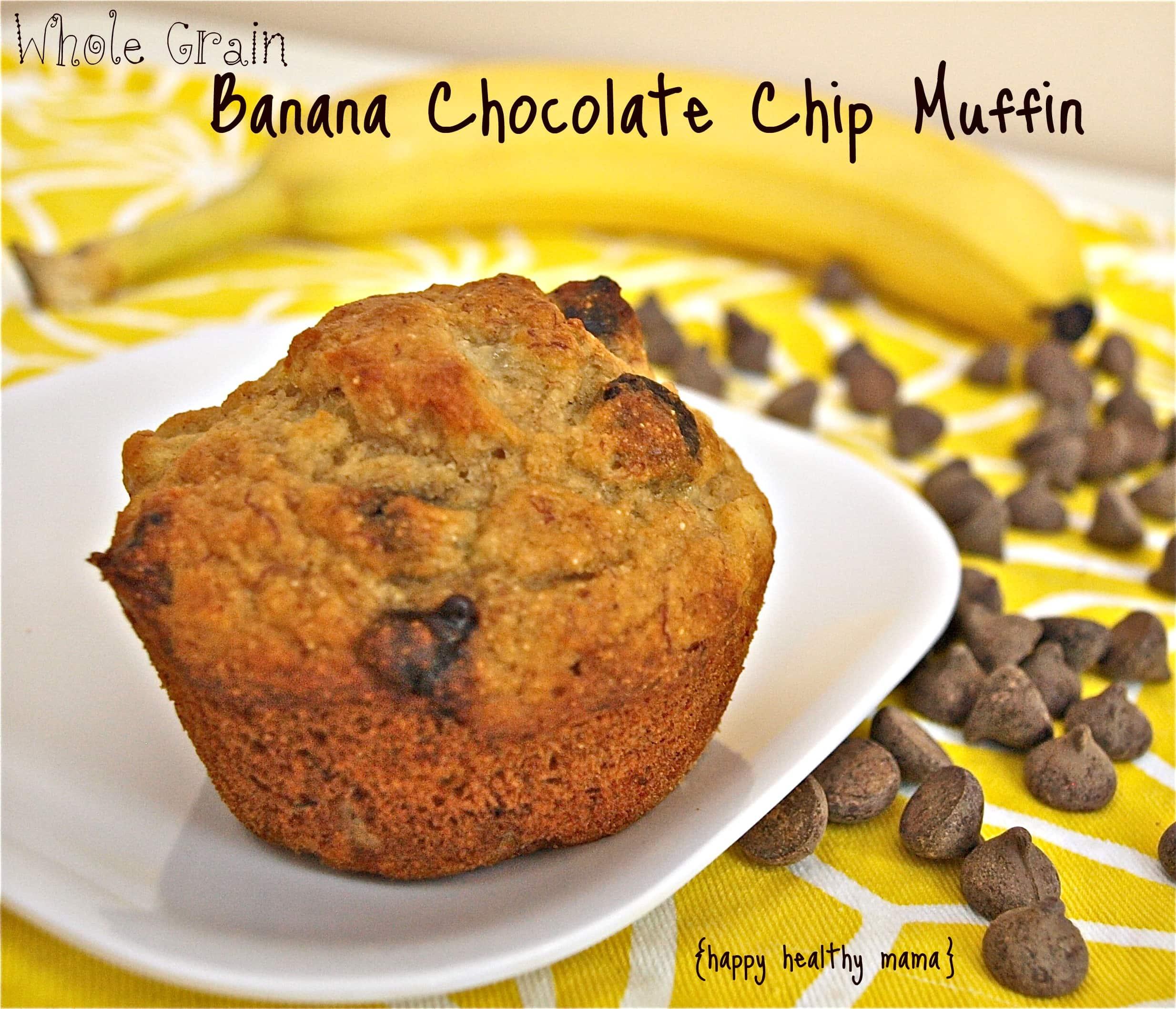 whole grain banana chocolate chip muffins