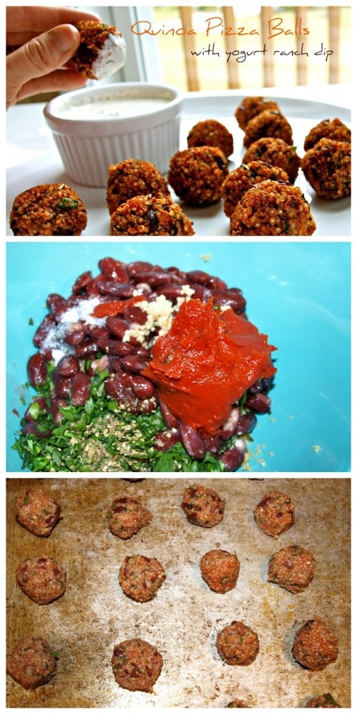Quinoa Pizza Balls with a Yogurt Ranch Dip. Easy and delicious recipe that is a great snack, appetizer, or side dish. Kid-approved recipe!