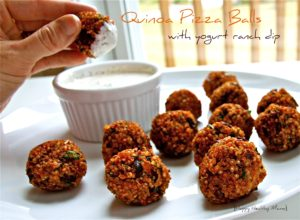 Quinoa pizza balls with yogurt ranch dip