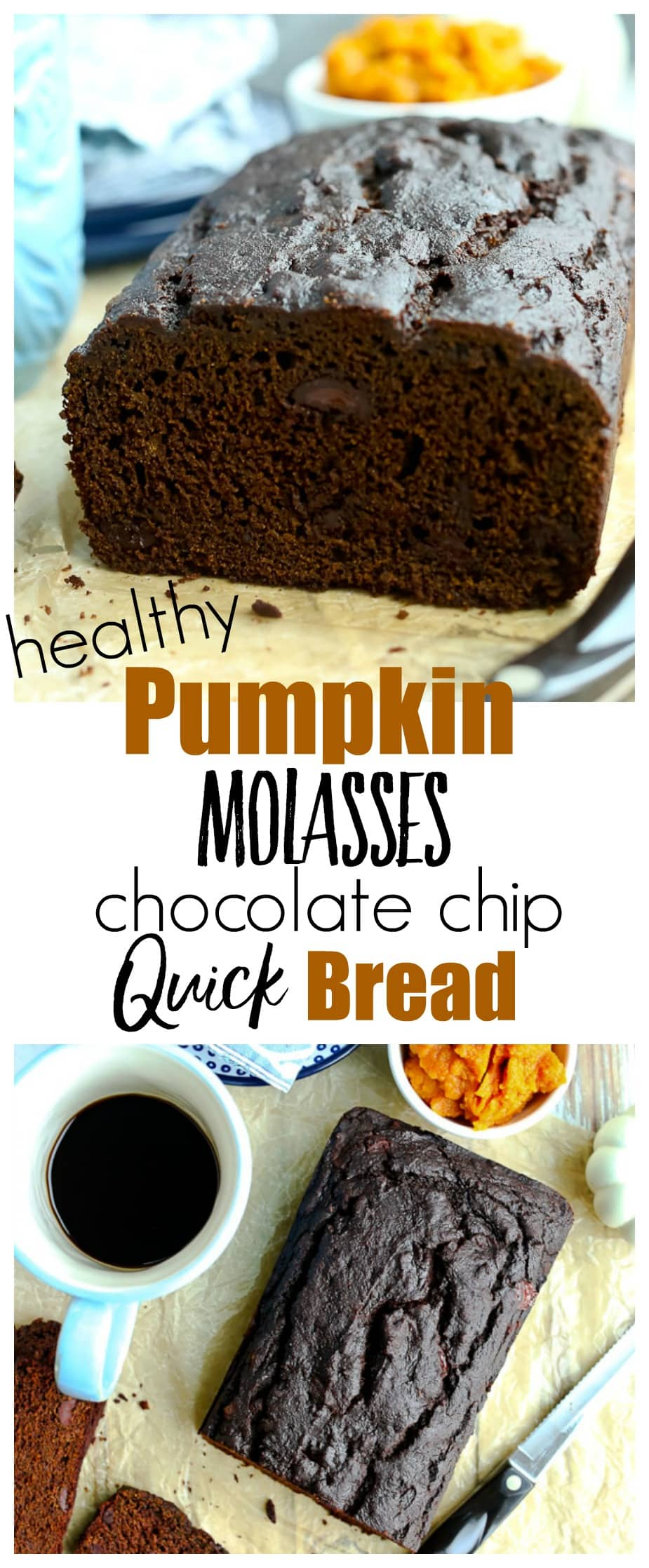Pumpkin Molasses Quickbread with chocolate chips recipe. Perfect for fall and winter weather--this is a healthy recipe that is great for breakfast, snack, or dessert. Whole grains and no refined sugar