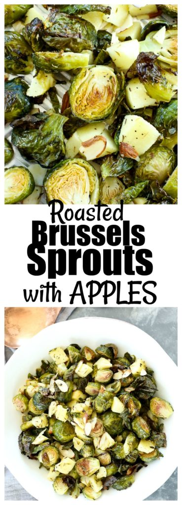 Roasted Brussels Sprouts with Apples and Almonds Recipe #healthy #vegan #glutenfree #sidedish #vegetables
