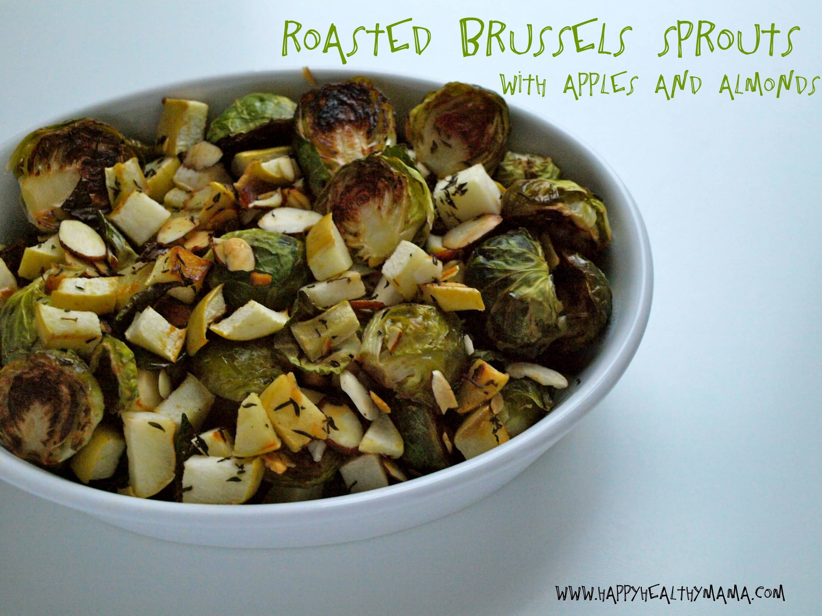 Roasted brussels sprouts with apples and almonds