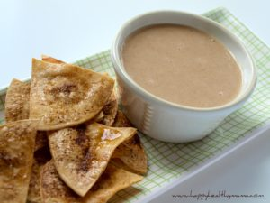 Sweet white bean apple dip with baked cinnamon chips