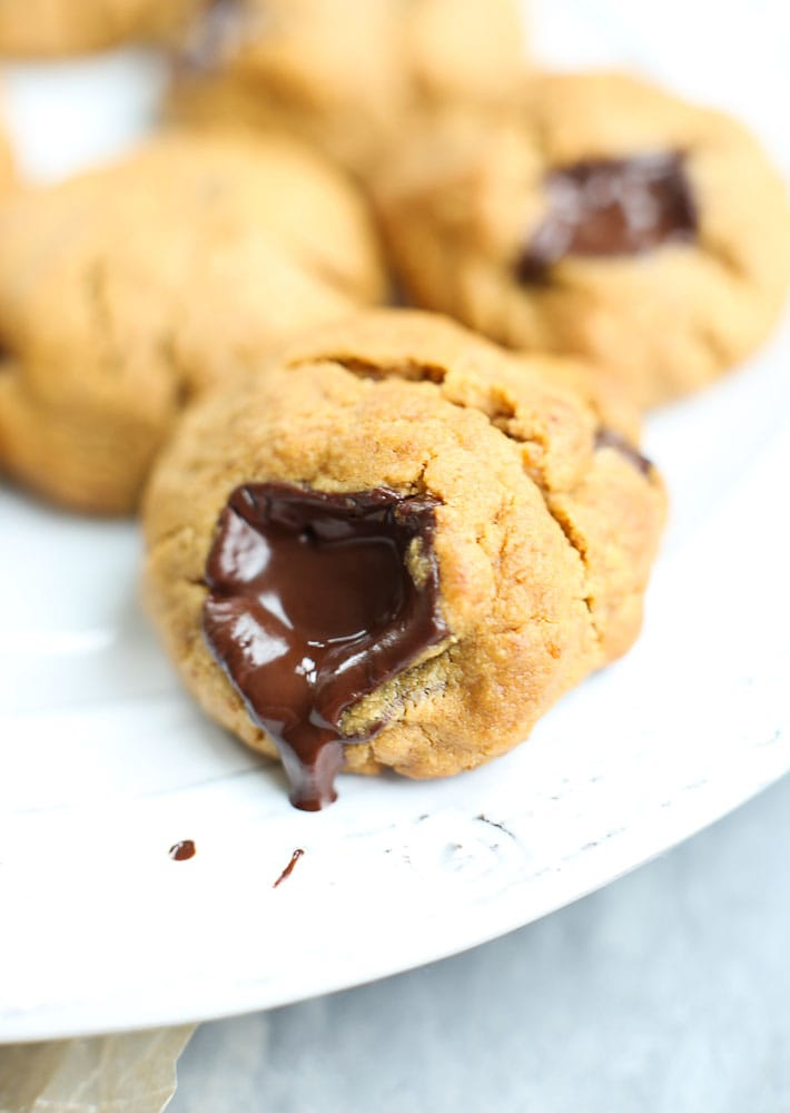 Flourless Peanut Butter Chocolate Chunk Cookies Recipe with melted chocolate