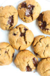 Flourless Peanut Butter Chocolate Chunk Cookies Recipe with melted chocolate chunks