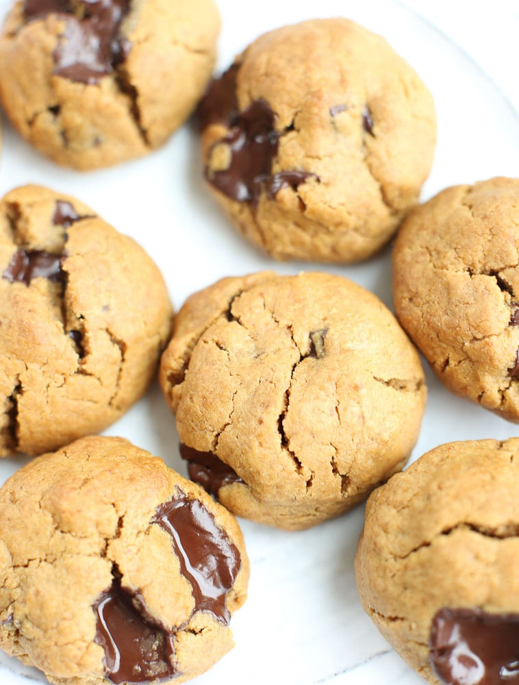 Flourless Peanut Butter Chocolate Chunk Cookies Recipe with a full plate of healthy cookies