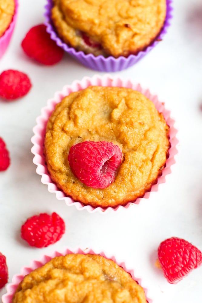 Paleo Raspberry Coconut Muffins recipe close up shot of one muffin