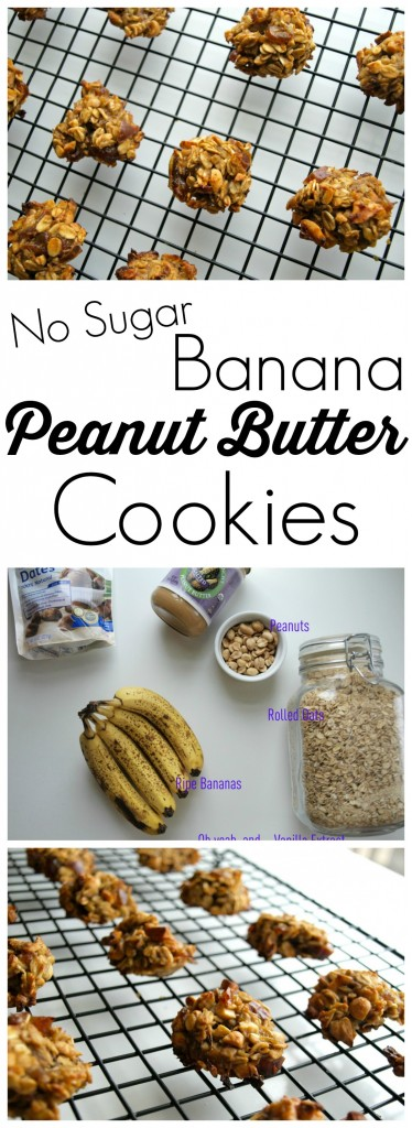 "These Banana Peanut Butter cookies are made with NO sugar, NO oil, and NO flour.  Yet you'll find yourself wanting more because they are SO GOOD.  Love it when I can say ""Yes!"" when my kids ask to have a cookie for snack.  :) #cleaneating #recipe"