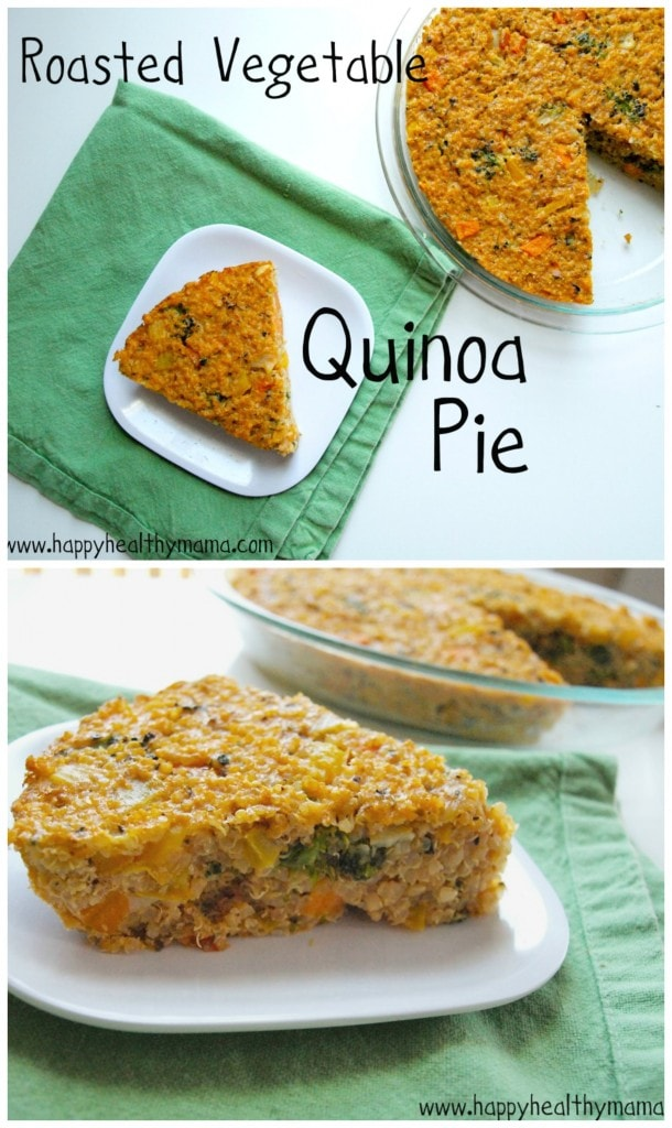 This Roasted Vegetable Quinoa Pie is a delicious gluten-free and dairy-free recipe.  It's also super easy, making it a great weeknight dinner!