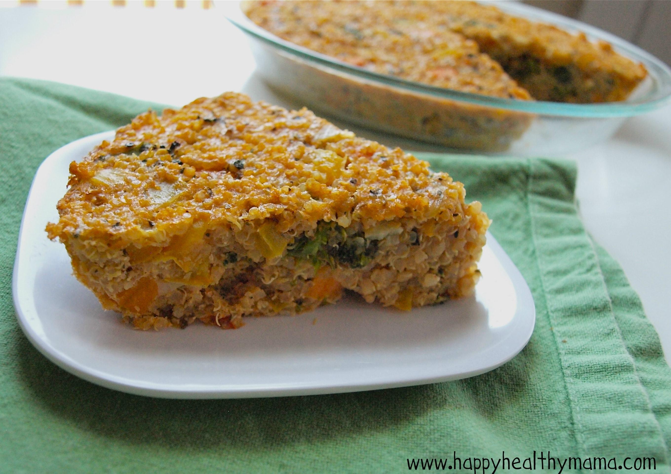 Roasted vegetable quinoa pie - Happy Healthy Mama