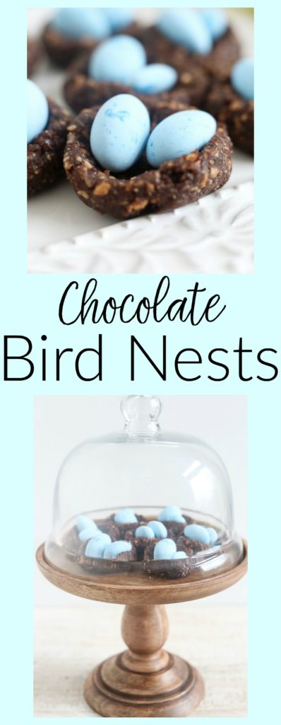 Easy Chocolate Bird Nests recipe. No bake, quick, easy, and healthy and it makes a beautiful Easter dessert