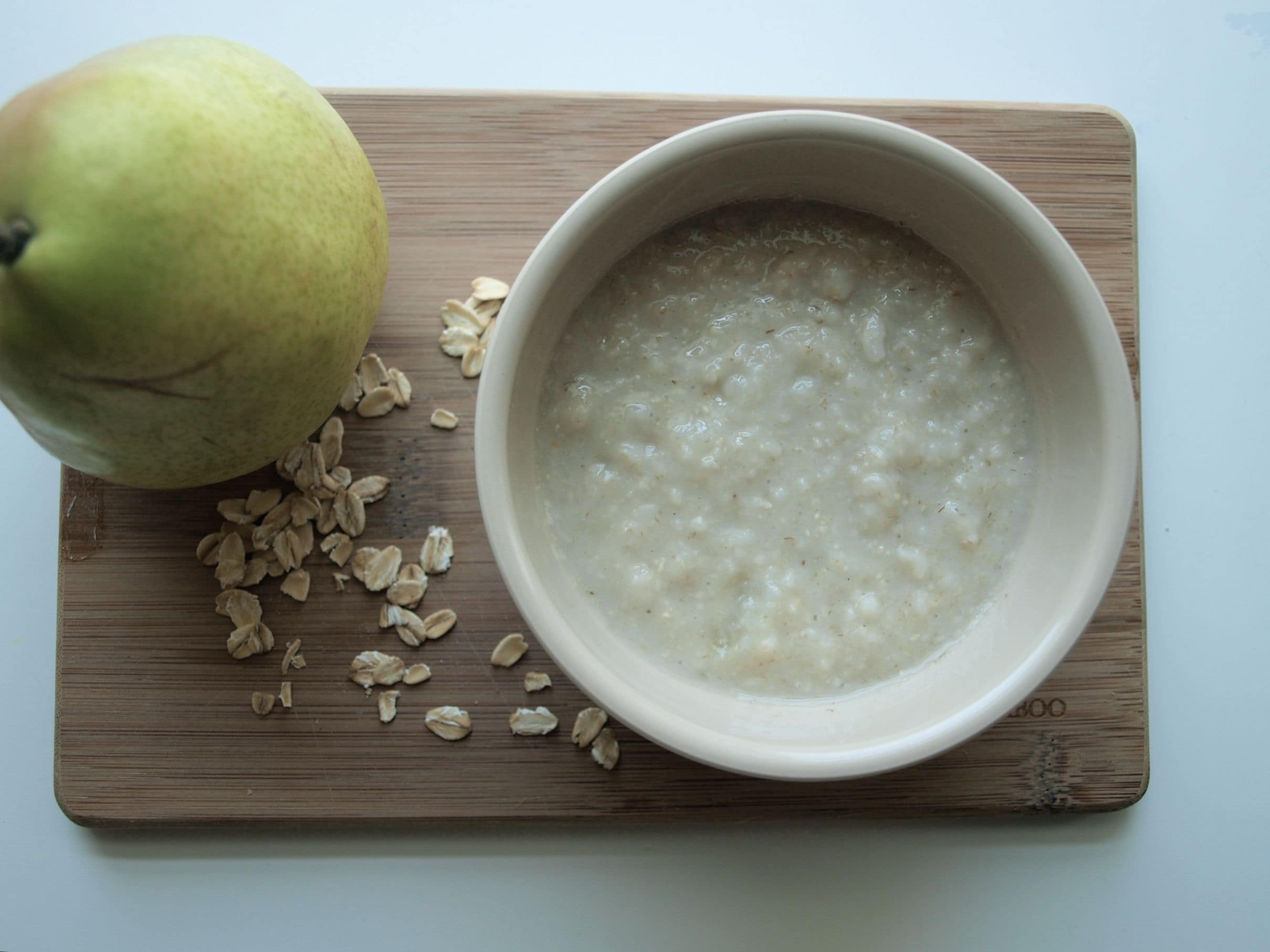 Homemade Baby Food Recipe Creamy Oatmeal With Pears