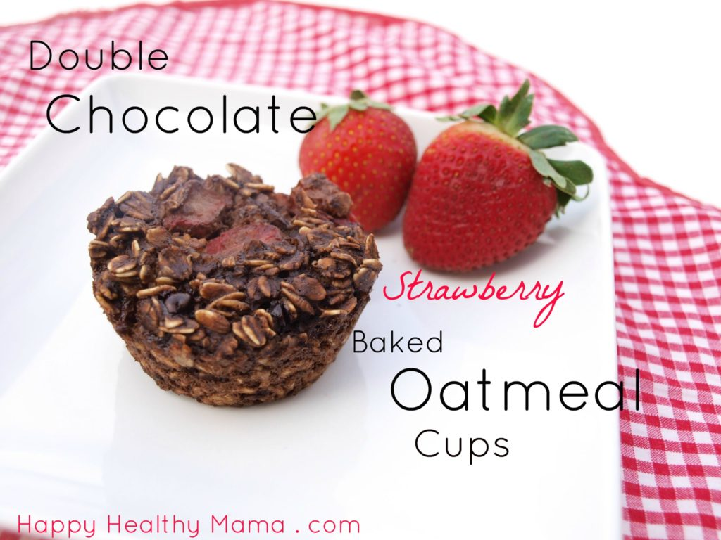 Double Chocolate Strawberry Baked Oatmeal Muffins