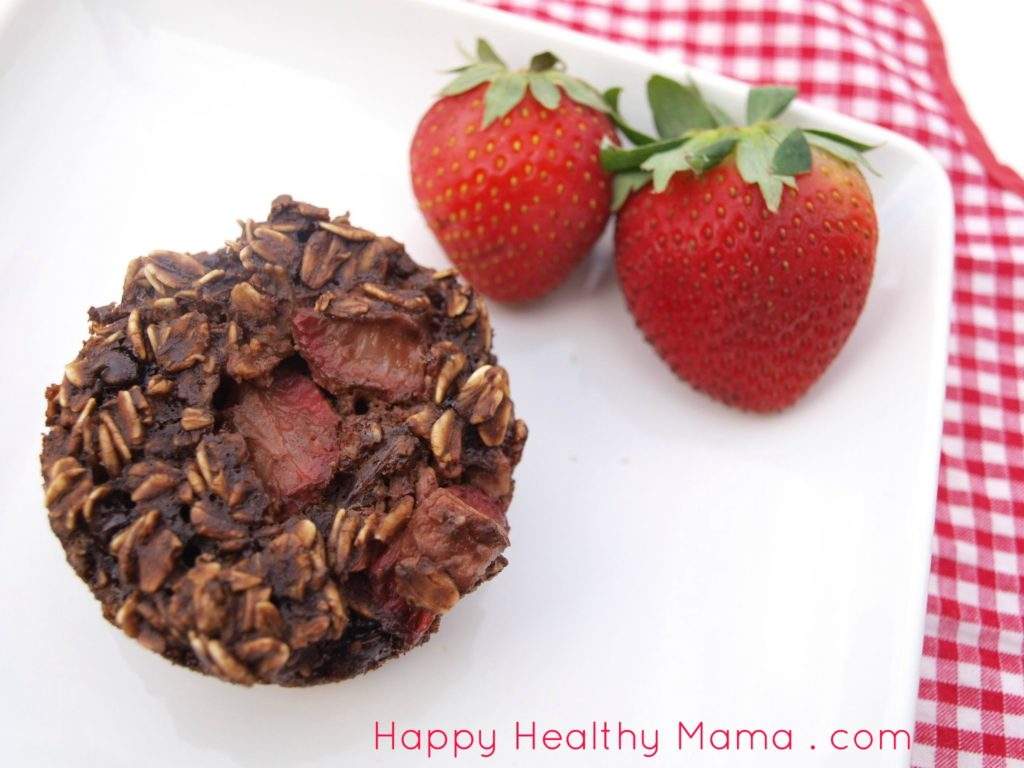 Double chocolate strawberry baked oatmeal cups
