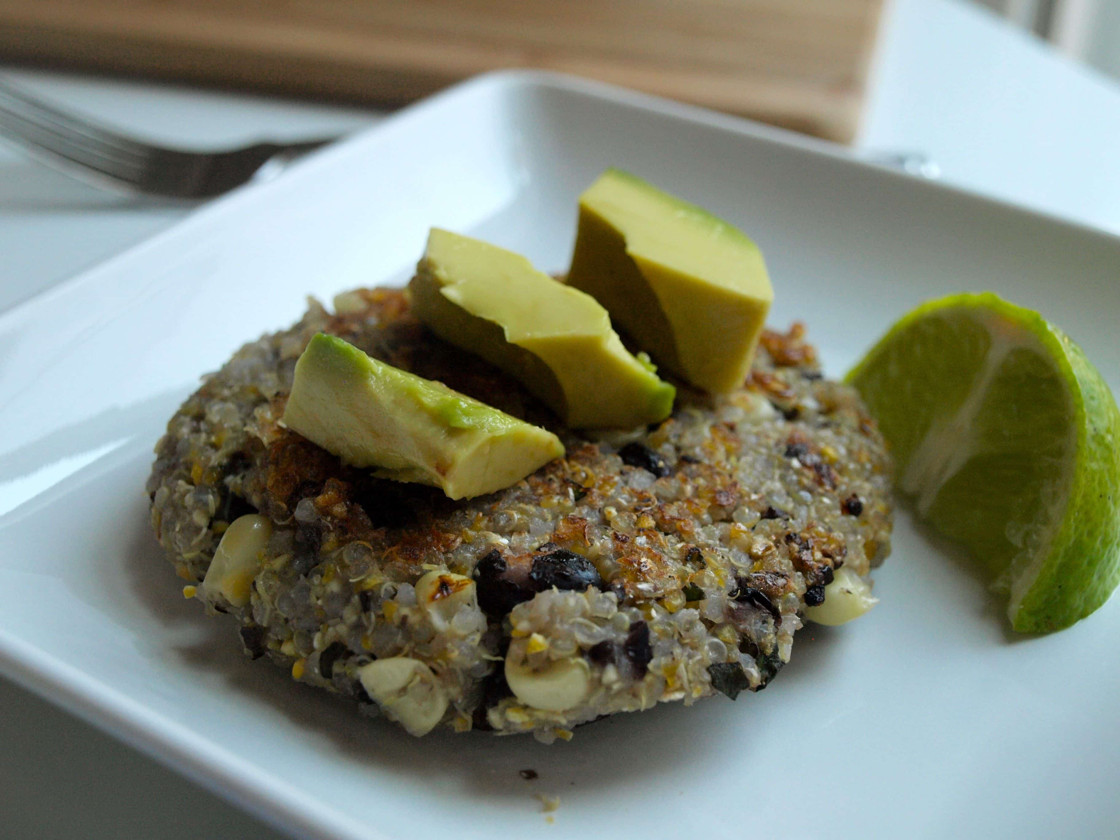 Quinoa patties with black beans and corn