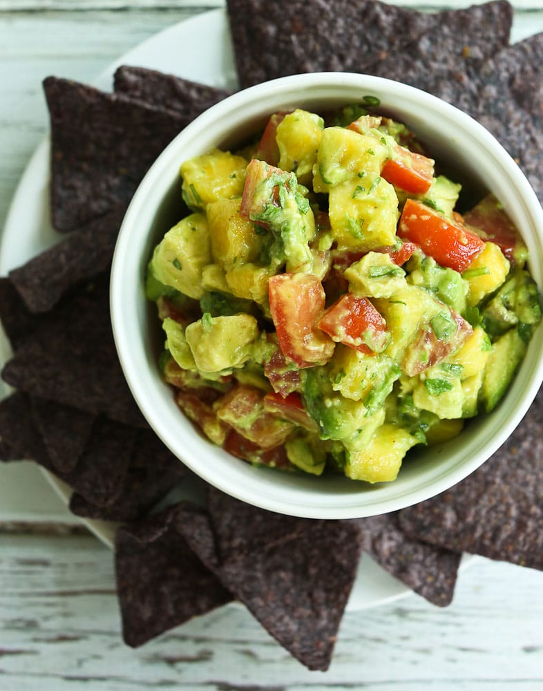 Pineapple Avocado Salsa with a plate of chips