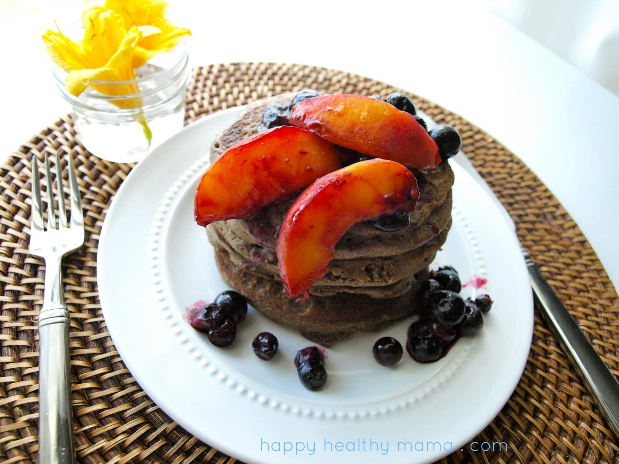 Buckwheat pancakes with roasted peaches and blueberries {gluten free, grain free, dairy free}
