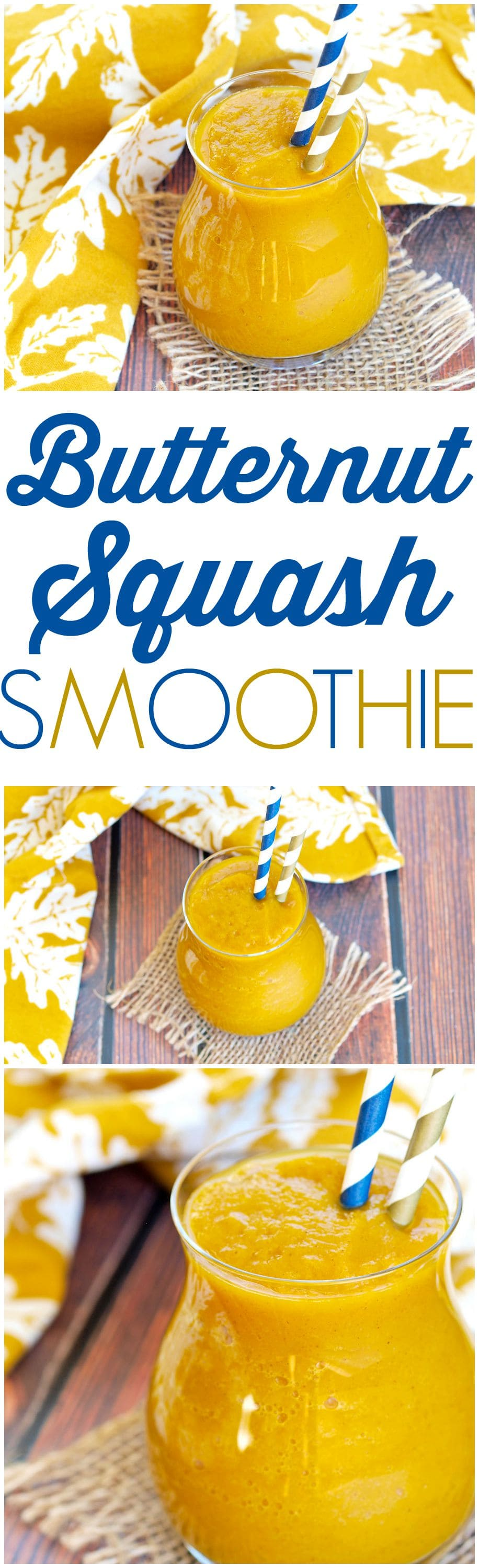 DRINK your vegetables with this Butternut Squash Smoothie recipe! There is a delicious, healthy smoothie that is filled with fall flavors! Perfectly spiced, and sweetened with dates and maple syrup. So good!!