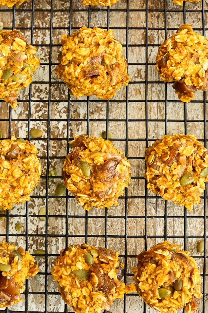 Pumpkin Breakfast Cookies on baking rack recipe