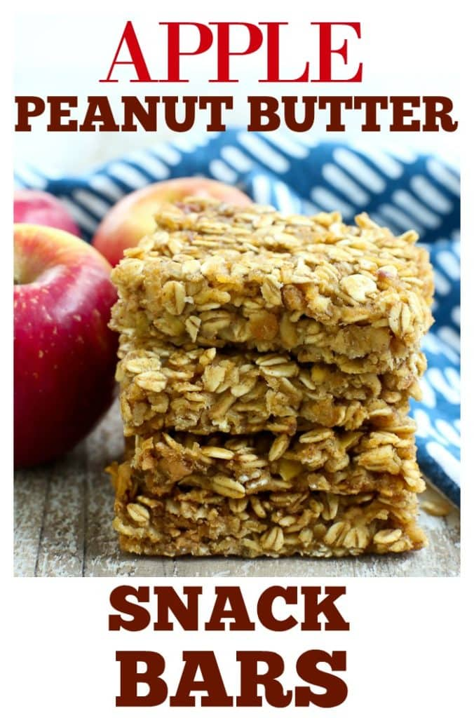 These Apple Peanut Butter Snack Bars are perfect for school lunches or after school snack! No refined sugar, no oil, and gluten free. #afterschoolsnack #healthysnacks #recipes #healthy #easy #peanutbutter #apple #bars #glutenfree #dairyfree #onebowl