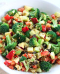 Lemony Broccoli Salad recipe close up picture in a white bowl