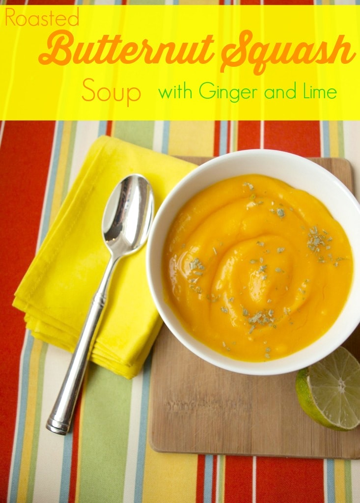 This Roasted Butternut Squash soup with Ginger and Lime is so flavorful! One of the best soups I've made! Roast your squash ahead of time and this is super quick, too. Healthy, easy recipe.