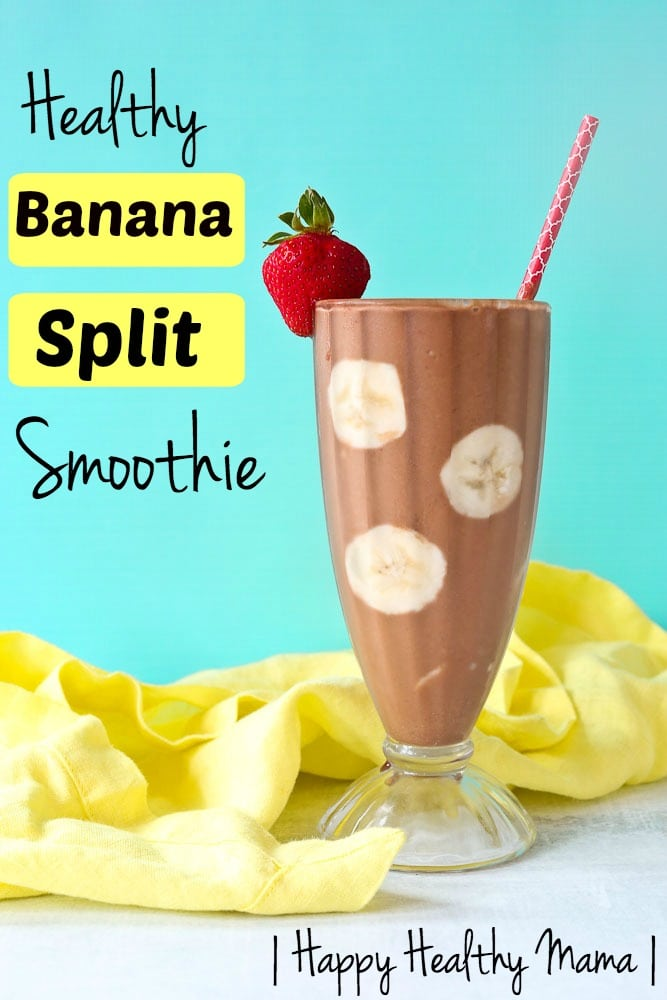 This Healthy Banana Split Smoothie is healthy enough to have for breakfast, but delicious enough to enjoy for dessert!! #healthy #smoothie #breakfast #kids #chocolate #peanutbutter #bananasplit #recipes #forenergy