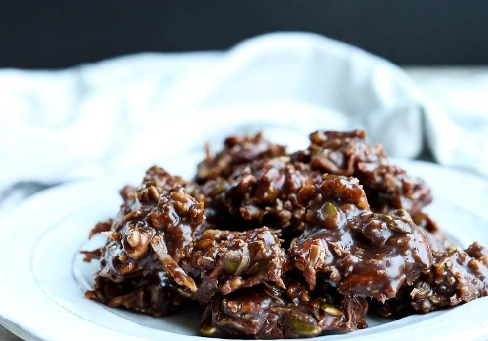 A plate of Healthy Chocolate No Bake Trail Mix Cookies recipe