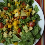 Fiesta Salad--a main course salad with roasted chickpeas and a fabulous cilantro-lime dressing